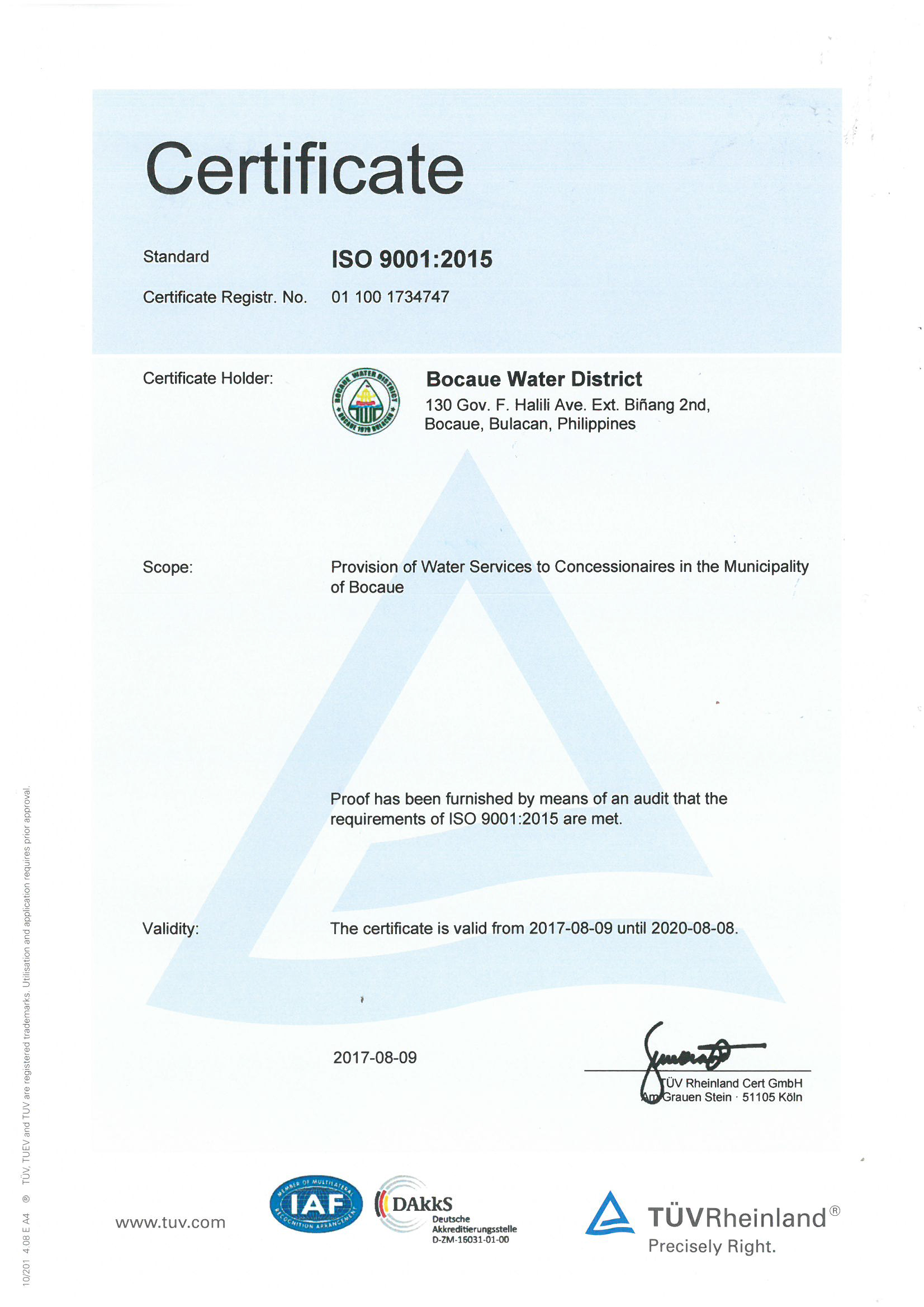 Iso certification bocaue water district iso certification 1betcityfo Images